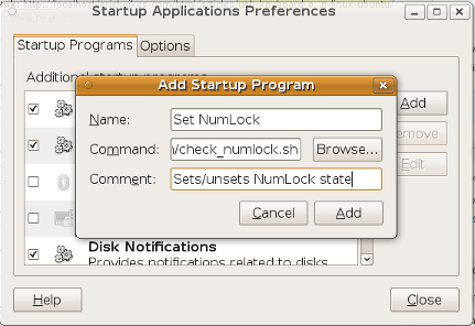 Screenshot of the Startup Applications window.