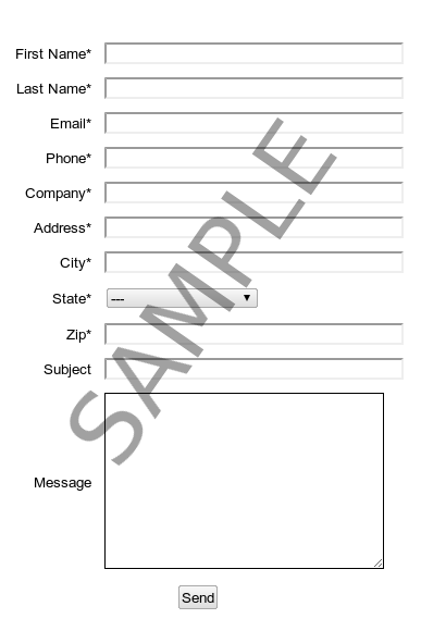 A sample Contact Us form.
